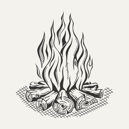 camp: Illustration of isolated camp fire on white background. Monochrome. Illustration
