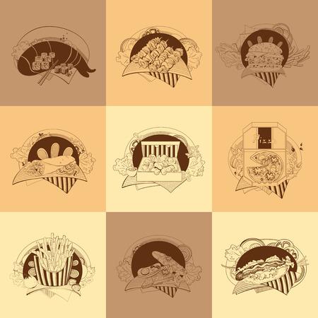 nuggets: Set of nine illustrations. The fast-food meals. Illustration