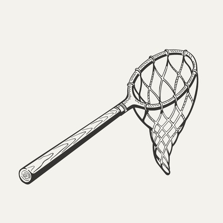 Illustration of butterfly net with handle on white background. Illustration