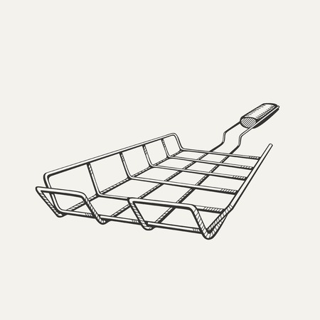 barbecue stove: Illustration of painted grill for a barbecue on white background. Illustration
