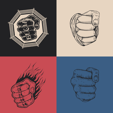 knuckle: The set of four images with hand drawn fists.