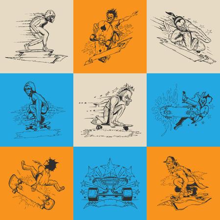 Set of nine illustration with men in mask performs a trick on skateboard. Vector design.