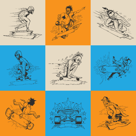 Set of nine illustration with men in mask performs a trick on skateboard. Vector design.
