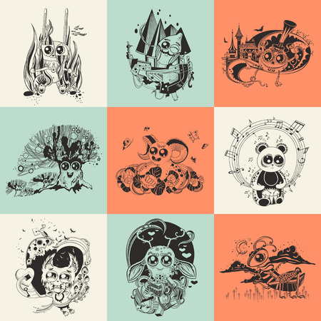 newcomer: Set of nine images with hand drawn fantastic creatures cartoonish.