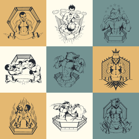 Set of nine illustration on Martial Arts topic. Figters. Ilustrace