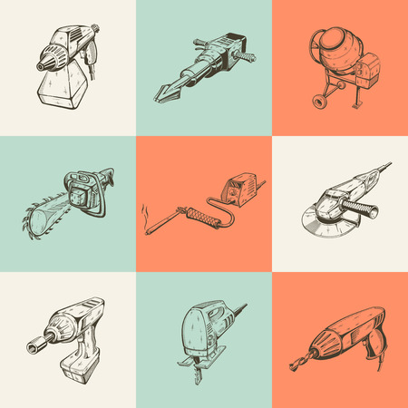 angle grinder: Set of nine vector illustrations with building tools.