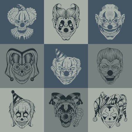 Set of nine images with painted fantastic cartoon scary clown. Иллюстрация