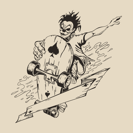 dangerously: Picture of Man in mask of clown to perform tricks on a skateboard. Vector design.