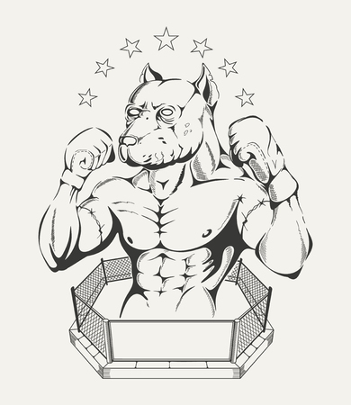 pit: Black and white illustration of  fighters body with pit bulls head in the ring.
