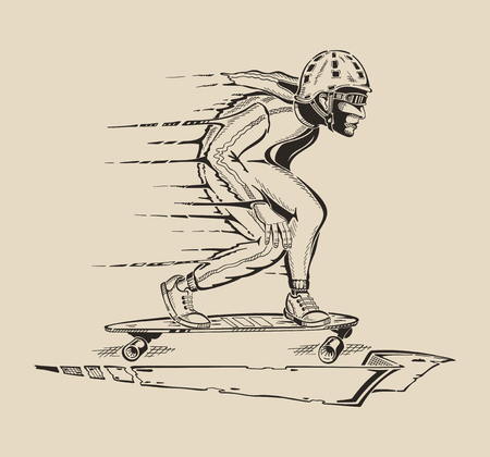 dangerously: Picture a guy who races on a skateboard in helmet and sunglasses. Illustration