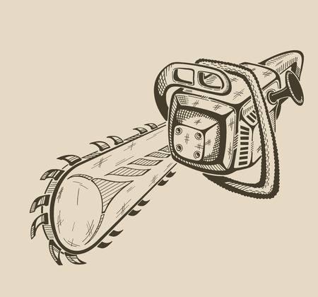 sawdust: It is illustration of vector monochrome chainsaw.