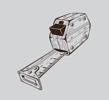 metro de medir: Es monocromo ilustración vectorial de metro de medición de la construcción.
