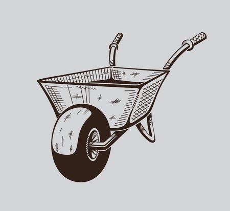 backyard work: It is monochrome vector illustration of wheelbarrow. Illustration