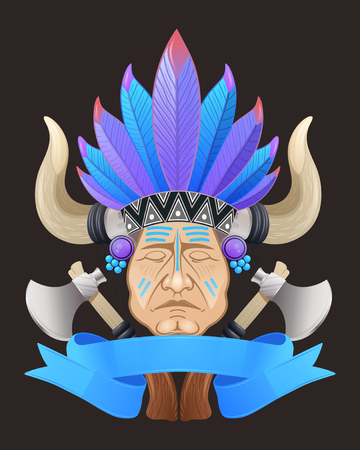 tomahawk: This image of the Indian chief with a tomahawk.