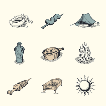 illustration isolated: Set of different icons. Subject tourism and hiking.