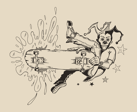 dangerously: Man in mask of clown to perform tricks on a skateboard. Vector design.