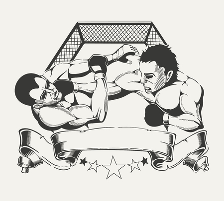 grimace: It is emblem for sports club with the image of two boxers in the ring.