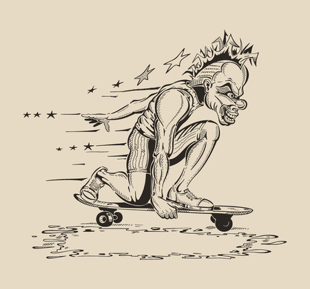 dangerously: Image of Man in mask of clown to perform tricks on a skateboard. Vector design. Illustration