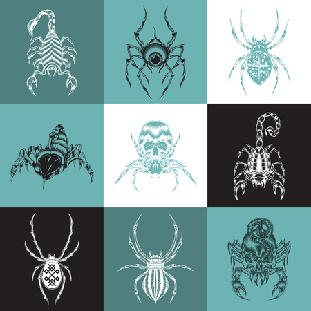 arachnids: It is nine tattoo illustration with representatives of arachnids.