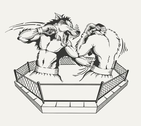 두 권투 선수는 남자의 시체와 반지의 늑대의 머리와 싸운다. 벡터 일러스트 레이 션.