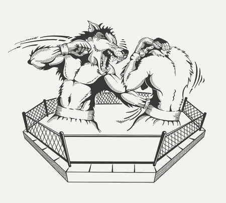 Two boxers fight with the body of man and a wolfs head in the ring. Vector illustration.