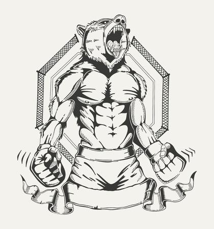 인체와 화가 늑대의 머리와 전투기의 이미지. 벡터 엠 블 럼입니다.