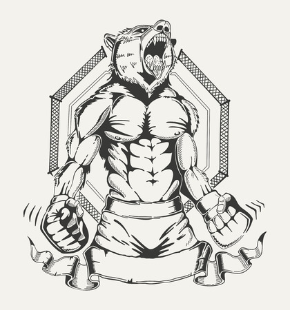 Image of a fighter with the human body and angry wolfs head. Vector emblem. Ilustrace