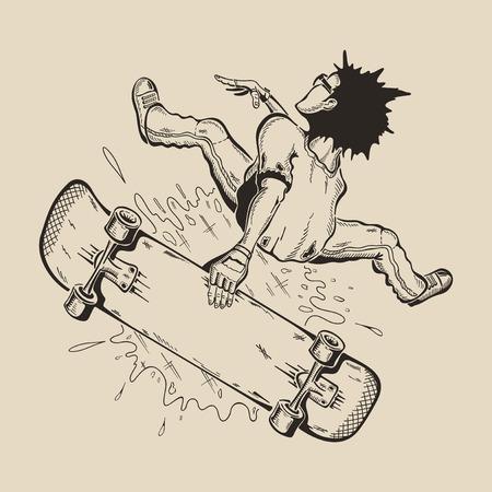 스케이트 보드에 트릭을 수행하는 마스크에 남자가있다. 벡터 디자인입니다. 일러스트