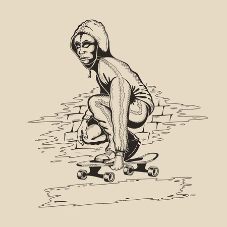 athleticism: Man in the mask and hood performs a trick on skateboard. Vector illustration. Illustration
