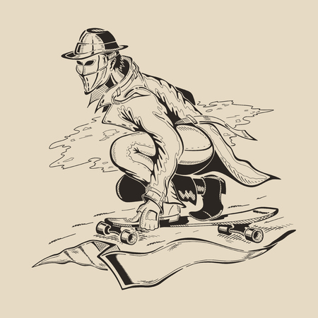 Man in the mask and hat performs a trick on  skateboard. Vector illustration. Ilustracja