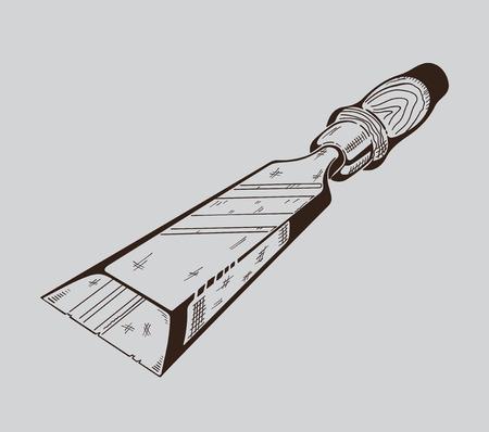 sawdust: It is monochrome vector illustration of hacksaw.