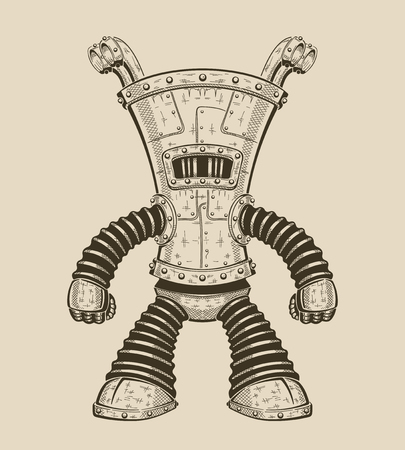 Vector cartoon illustration of an funny iron robot. Illustration