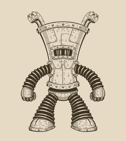 Vector cartoon illustration of an funny iron robot. Ilustracja