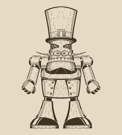 모자 실린더에 콧수염과 만화 재미 금속 로봇의 이미지. 벡터 일러스트 레이 션.