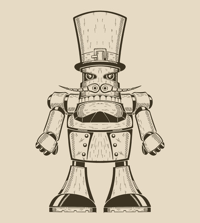 Image of cartoon fun metal robot with mustache in hat-cylinder. Vector illustration. Illustration