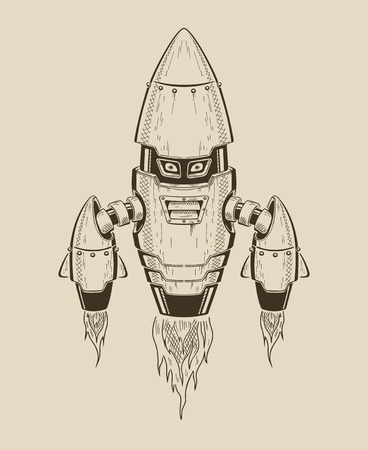 It is an image robot-rocket. Vector monochrome illustration.