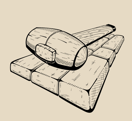 Rubber hammer - a tool to perform work on the laying of tiles. Vector illustration. Ilustracja