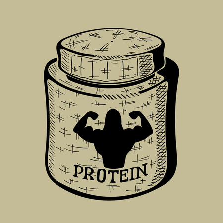 gainer: Hand drawn bank with Protein. Sport Nutrition Container. Vector monochrome illustration isolated. Illustration