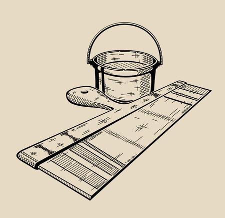 It is monochrome vector illustration of bucket and trowel. Ilustracja