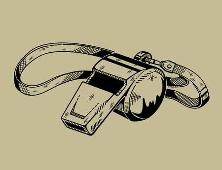 Monochrome illustration of whistle. Vector graphics.