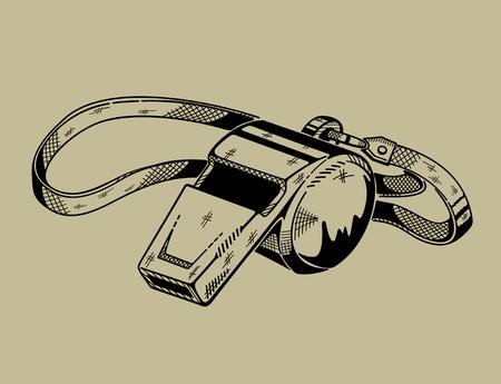 Monochrome illustration of whistle. Vector graphics. Stock Vector - 46367973