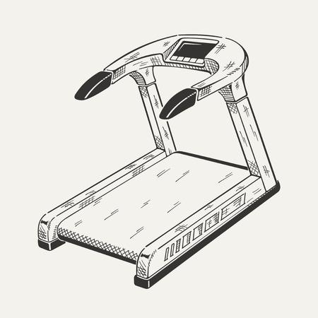 hardy: Illustration of treadmill. Sports equipment, fitness simulator. Vector graphic.