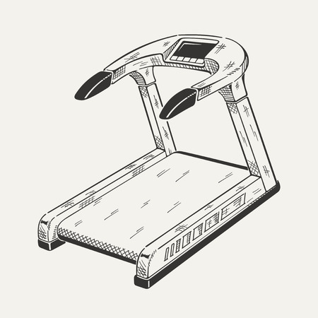 Illustration of treadmill. Sports equipment, fitness simulator. Vector graphic.