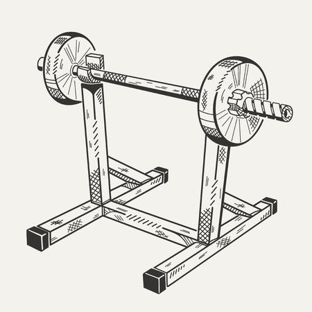 vigorous: The image with illustration of training apparatus. Sports equipment.