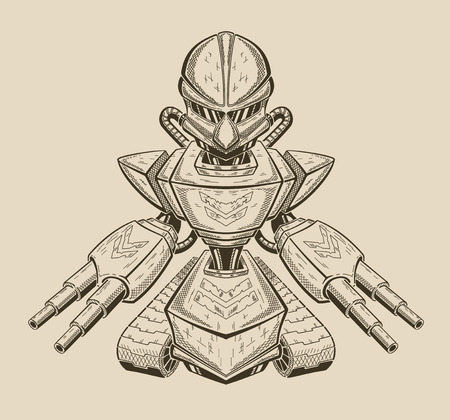 Vector illustration of an angry robot getting ready for battle.