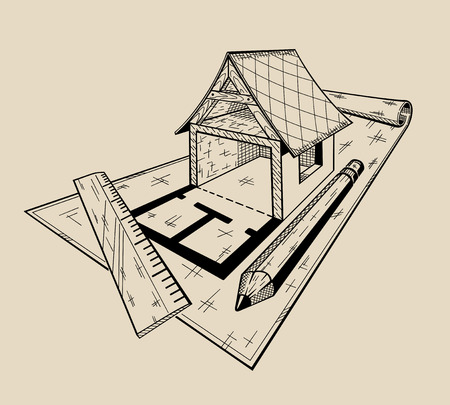 It is monochrome vector illustration of layout architectural house .