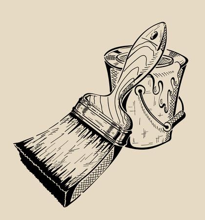 페인트 브러시와 양동이 - 평면 그림을위한 도구입니다. 벡터 일러스트 레이 션.