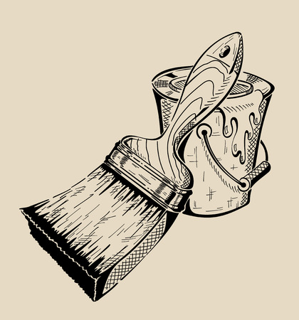 Brush and bucket of paint - a tool for painting flat surfaces. Vector illustration.