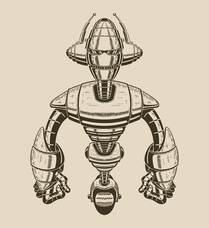 안테나와 바퀴와 만화 금속 로봇의 이미지. 벡터 일러스트 레이 션.