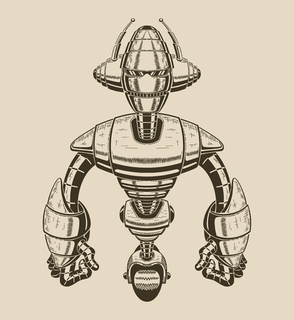 Image of a cartoon metal robot with antennas and wheel. Vector illustration.